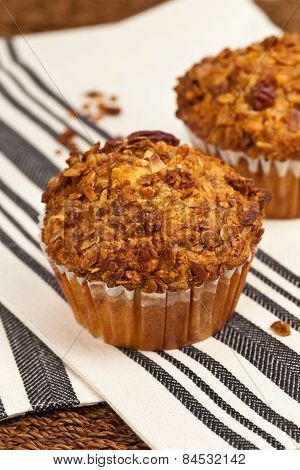 Peach Muffins with Buttery Pecan Topping