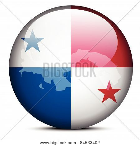 Map On Flag Button Of Republic  Panama
