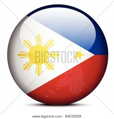 Map With Dot Pattern On Flag Button Of Republic Philippines