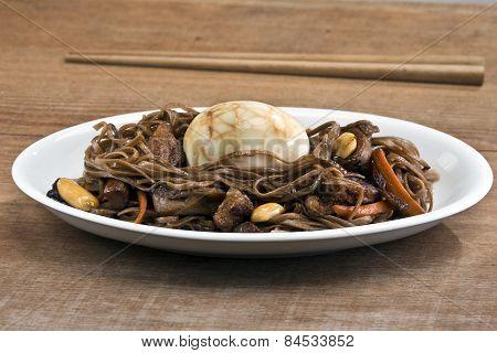 Stir Fry Soba Noodles With Tea Egg