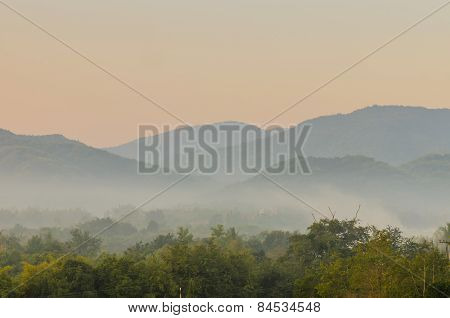 Fog In Mountains Central Thailand