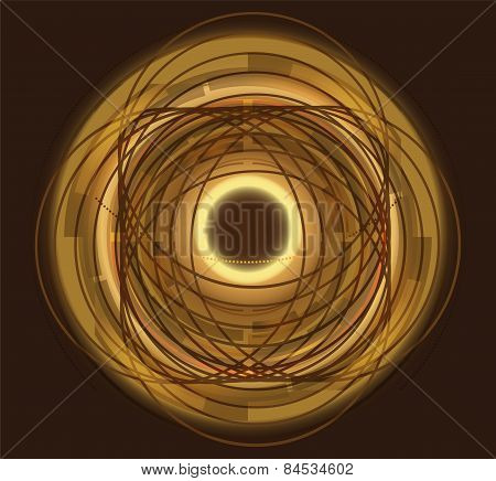 Hi tech swirl abstract swirl shaped golden background