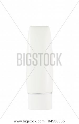 White sunscreen tube isolated on white