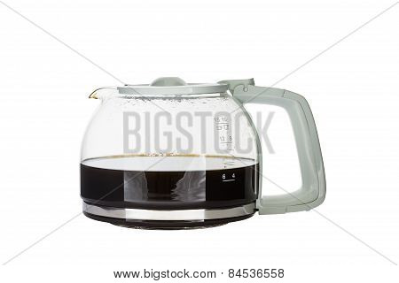 Black coffee pot isolated on white