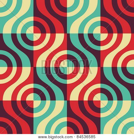 Seamless Curved Shape Pattern. Vector Colorful Background