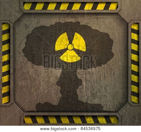 frame, radiation sign, nuclear explosion