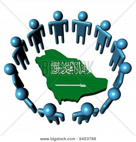 People Around Saudi Arabia Map Flag