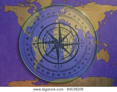 compass, world map