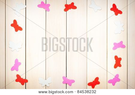 Colored butterflies out of paper