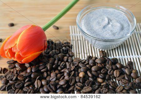 Fresh Cream Coffee Scrub In A Small Bowl