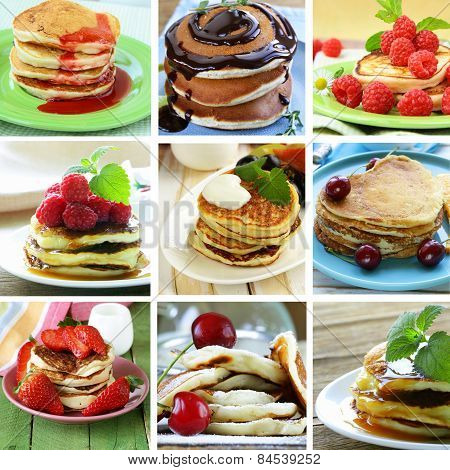 collage of different variant pancakes breakfast with berries and sauce