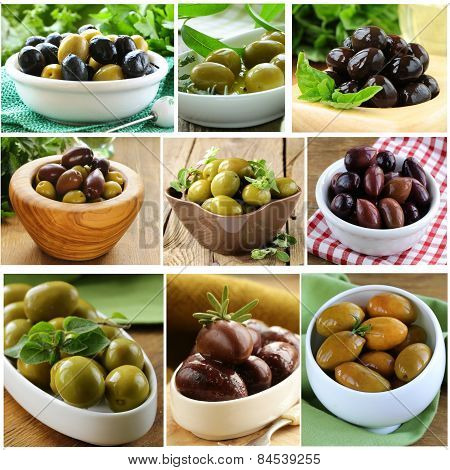 collage of different varieties of olives (kalamata, green, black)