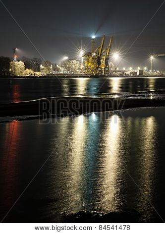 Night View Of A Port, Industrial Background.
