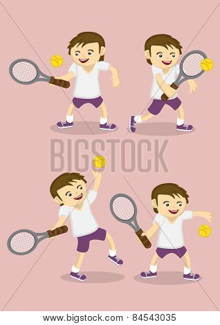Boy Playing Tennis Vector Cartoon
