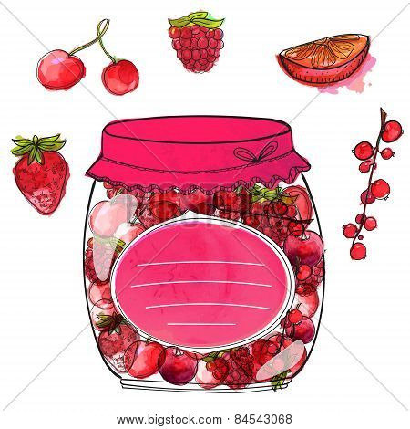 Hand drawn jar with homemade berry jam and isolated berries cherry, currant, strawberry and raspberr