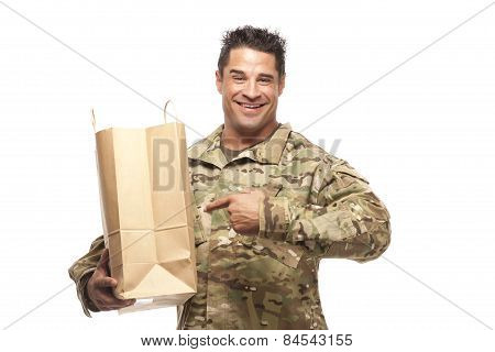 Smiling Army Soldier With Shopping Bag