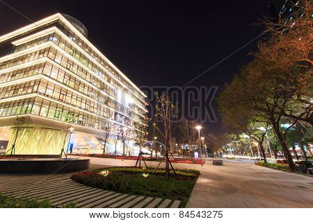 Kaohsiung, Taiwan - February 19,2015: The Kaohsiung Main Public Library At Night. This Structure Is