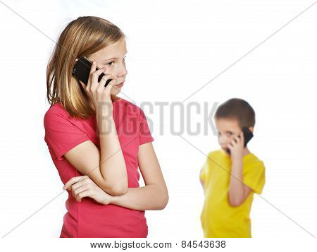 Girl And Boy Talking On Phones