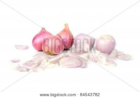 Slice Shallots Or Onion Isolated On White Background