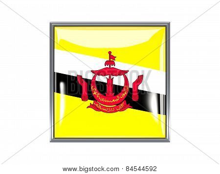Square Icon With Flag Of Brunei