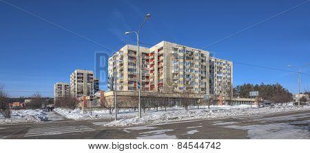 SAYANSK IRKUTSK/RUSSIA - FEBRUARY 26, 2015: Dwelling Houses