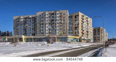 SAYANSK IRKUTSK/RUSSIA - FEBRUARY 26, 2015: Nine-residential Complex