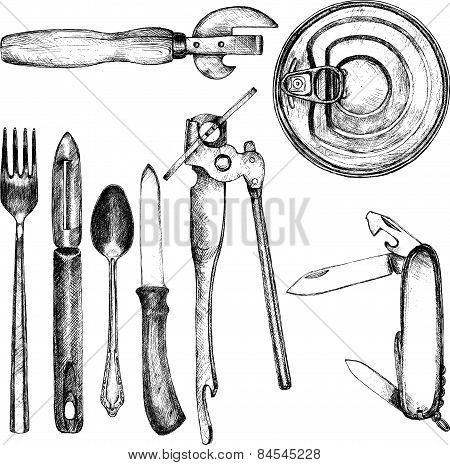 set of different kitchen utensil