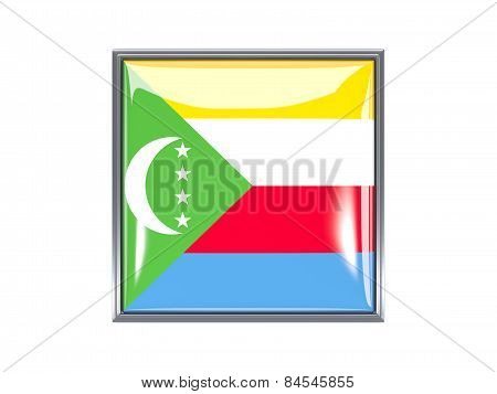 Square Icon With Flag Of Comoros