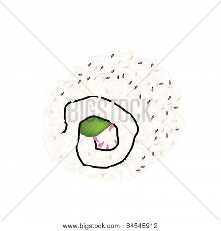 Japanese Sesame California Roll On White Background