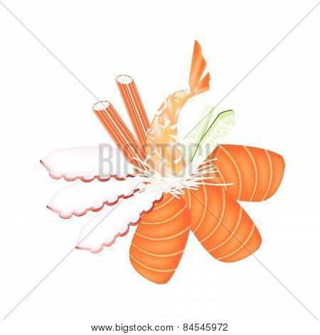 Seafood Sashimi With Chopsticks On White Background