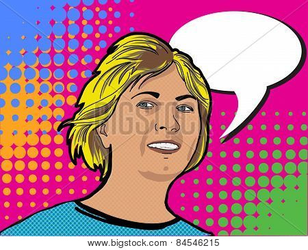 Pop art portraite girl with booble