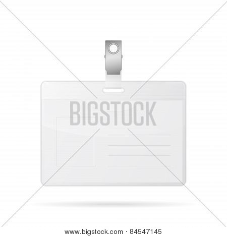 Badge Template, Identification Card. Isolated On White.
