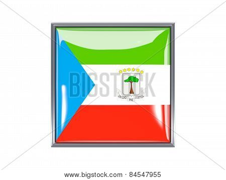 Square Icon With Flag Of Equatorial Guinea