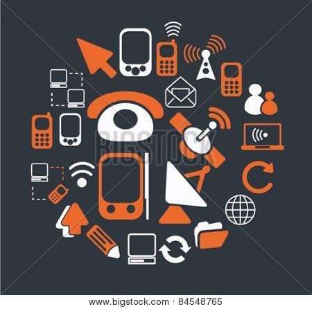 communication, connection, phone flat isolated concept design icons, symbols, illustrations on background for web and applications, vector
