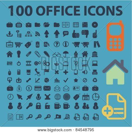 100 office, document, workplace flat isolated concept design icons, symbols, illustrations on background for web and applications, vector