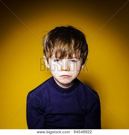 Red-haired Expressive Preschooler Boy Close-up Emotional Portrait