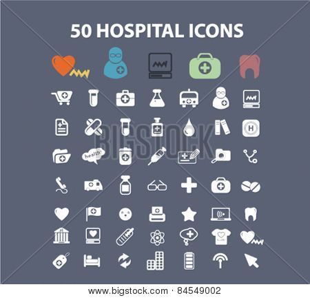 50 hospital, medicine, medical, healh care flat isolated concept design icons, symbols, illustrations on background for web and applications, vector