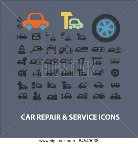 car repair, service, auto station flat isolated concept design icons, symbols, illustrations on background for web and applications, vector