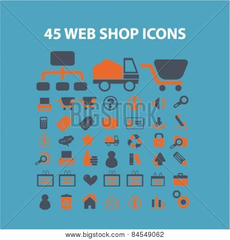 45 web shop, delivery, internet retail flat isolated concept design icons, symbols, illustrations on background for web and applications, vector