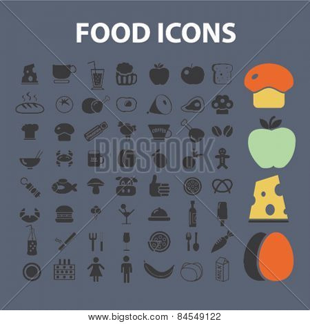 food, restaurant, grocery, meat, vegetables, cheese flat isolated concept design icons, symbols, illustrations on background for web and applications, vector
