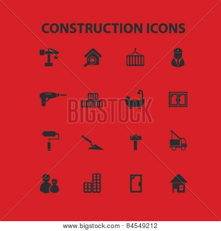 construction, building, architector flat isolated concept design icons, symbols, illustrations on background for web and applications, vector