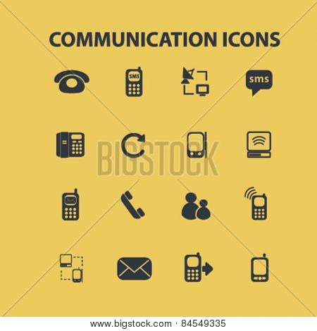 communication, connection, internet flat isolated concept design icons, symbols, illustrations on background for web and applications, vector
