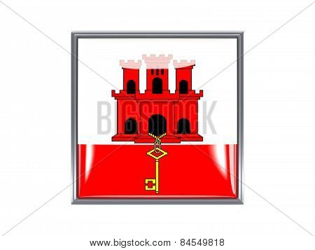 Square Icon With Flag Of Gibraltar