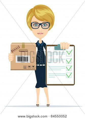 Cargo delivery notification, vector illustration