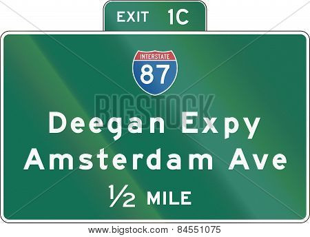 New York State Interchange Advance Guide Signs