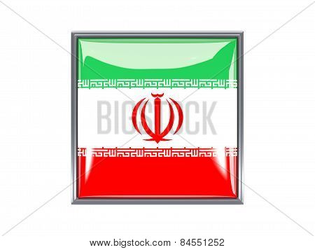Square Icon With Flag Of Iran
