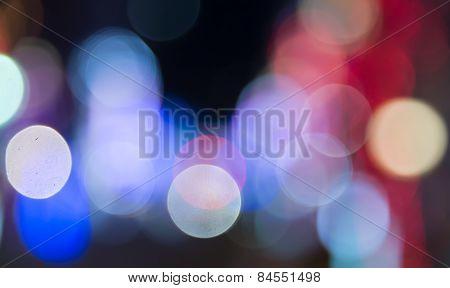 Blur Defocused Neon Light  At Night