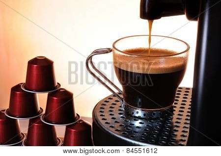 Machine Serving Espresso Coffee In A Cup