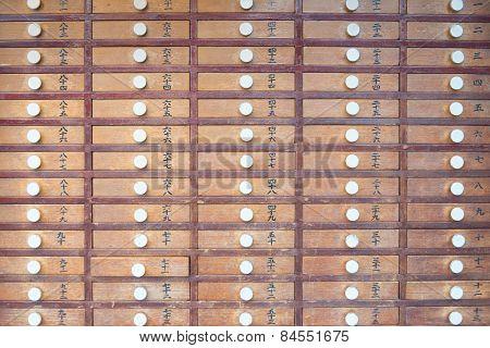 Wooden Locker In Japanese Shinto Temple