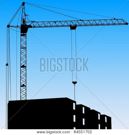 Silhouette Of One Cranes Working On The Building On A Blue Backg